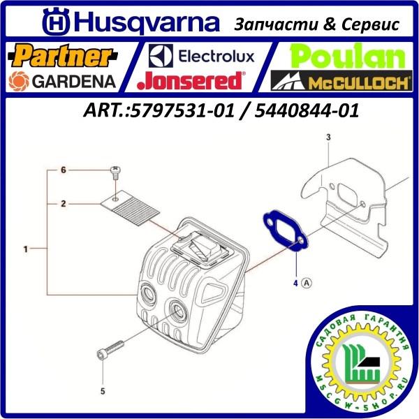 Прокладка глушителя 135 / 140 / 435 / 440 / 445 / 450 HUSQVARNA 5797531-01 / 5440844-01