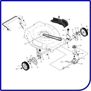 Колеса, трансмиссия, привод газонокосилки HUSQVARNA LB 155S