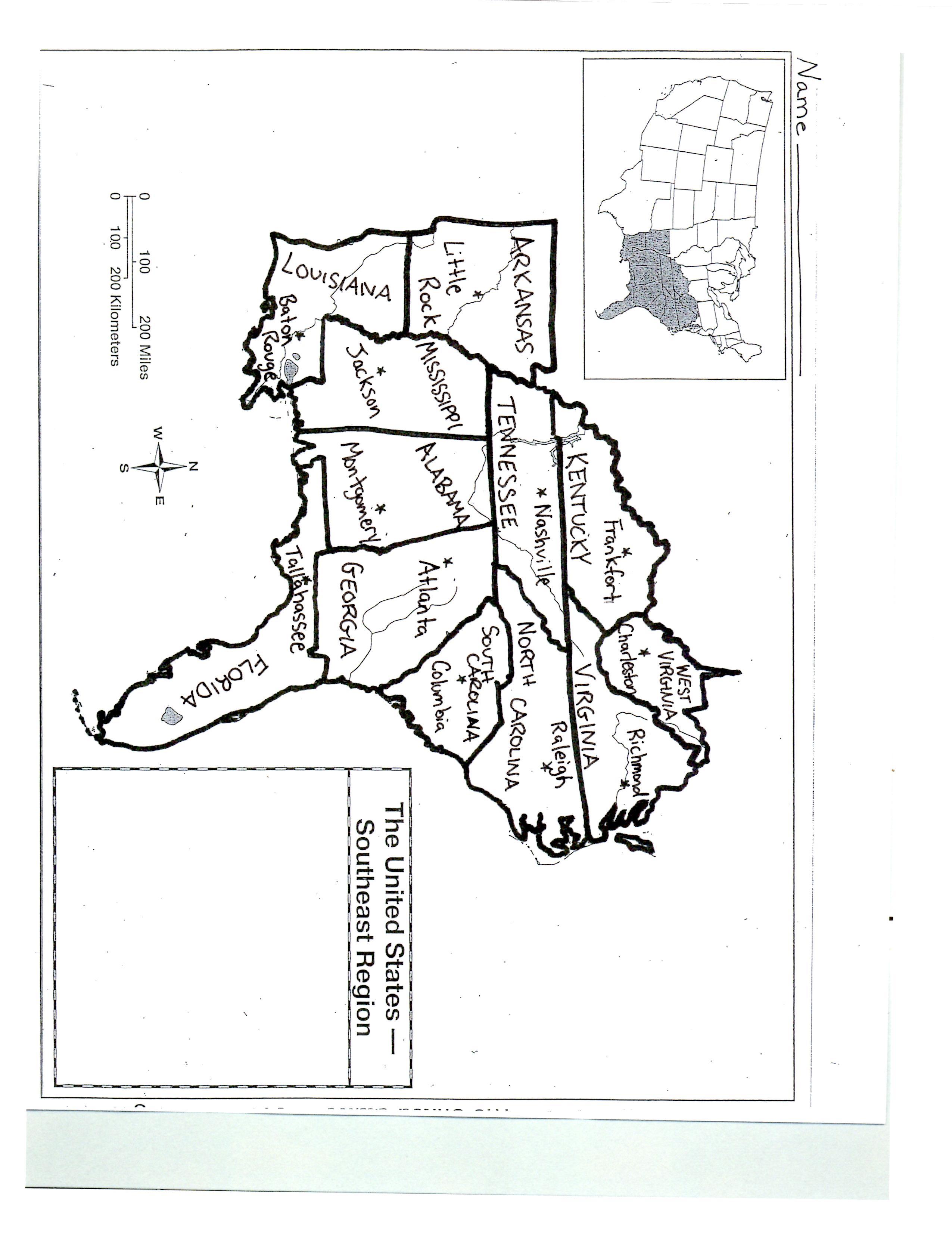 Southeast Capital Map Quiz Friday