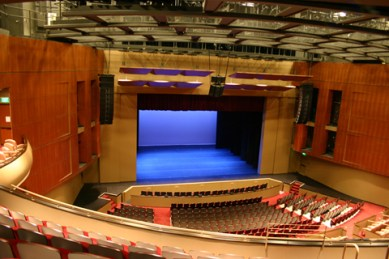 photo of colorful Gallo Center for the Arts theater interior taken from top of sweeping balcony - photo by: Tony Accurso
