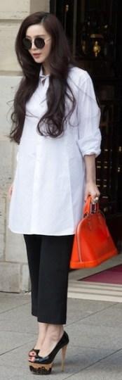 Fan BingBing spotted in Paris during Fashion Week.