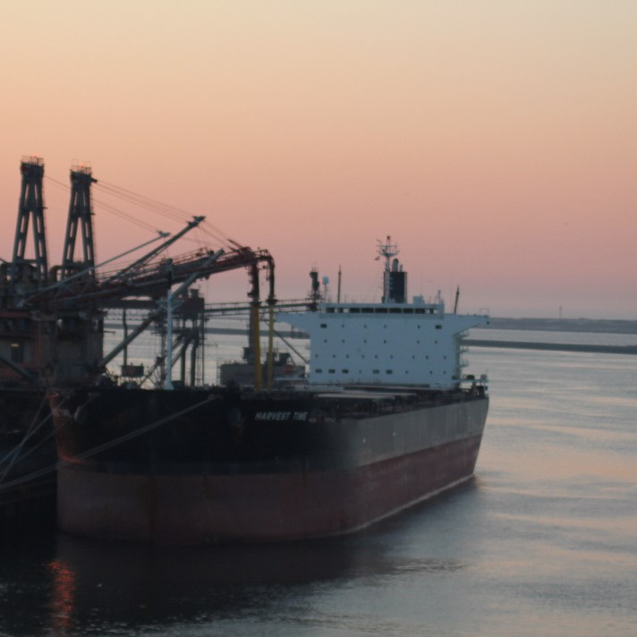Large dredging vessel in port