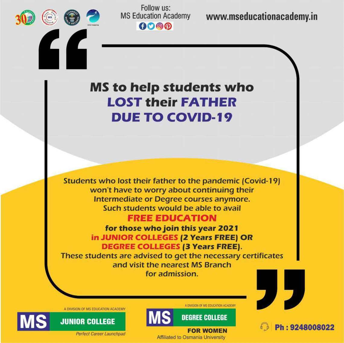MS providing free education to students lost their father due to COVID-19
