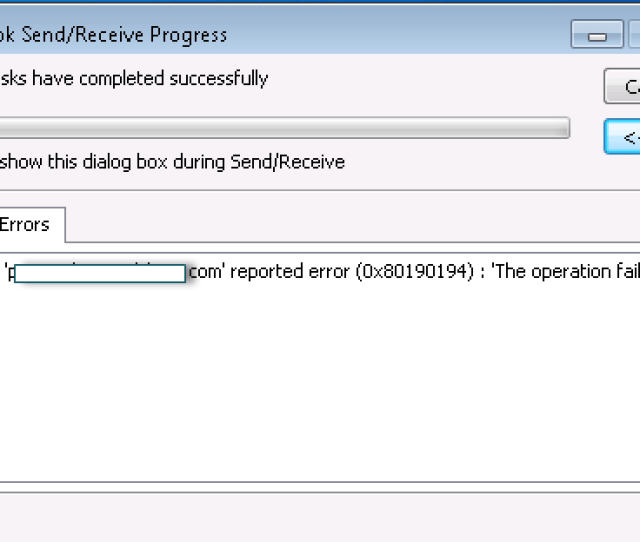 Issue Unable To Download Oab And Getting The Following Error In Outlook Task Email Reported Error 0x80190194 The Operation Failed