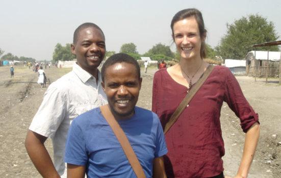 Marieke med to kolleger i Pibor, Sydsudan