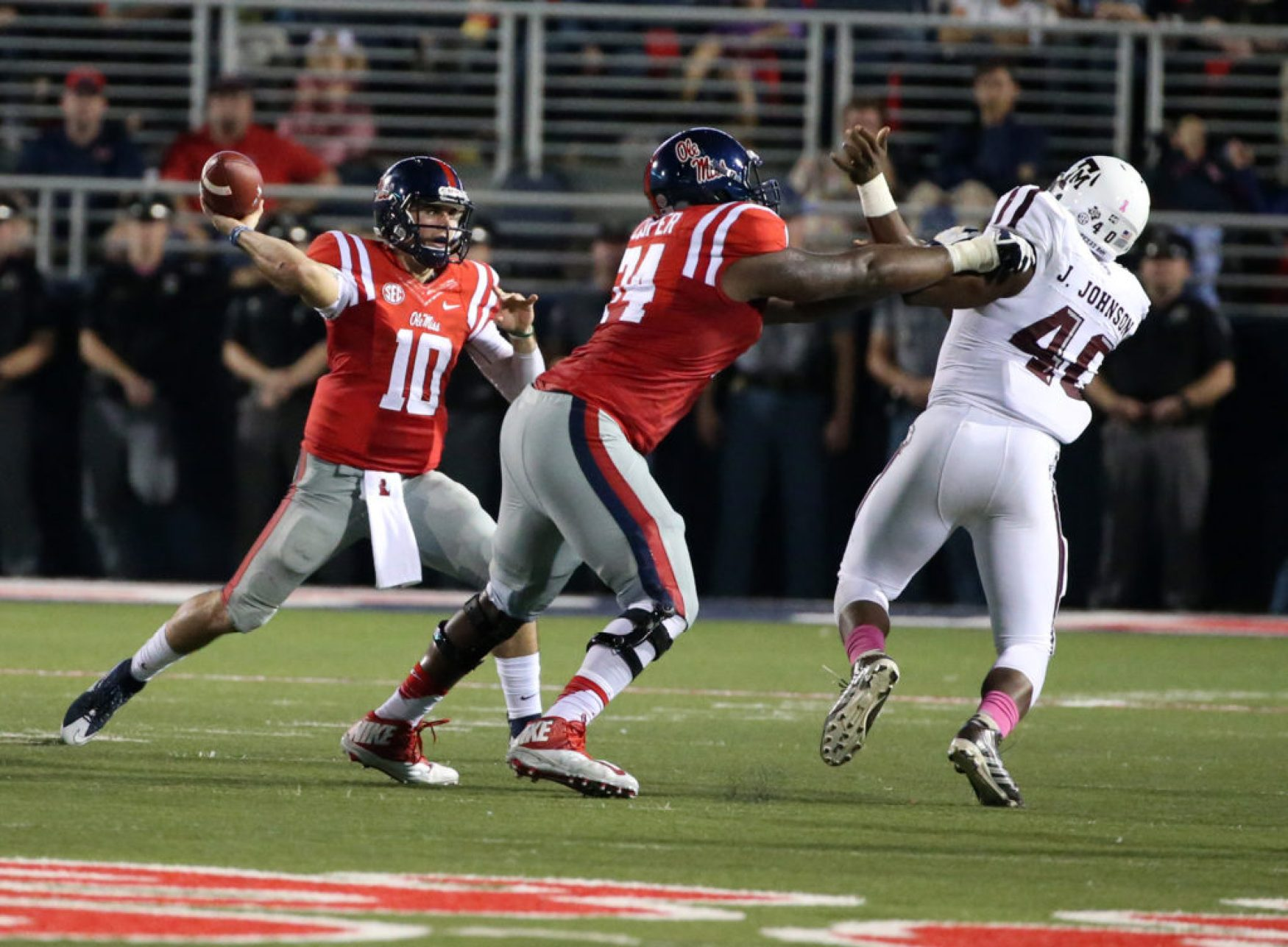 Fahn Cooper, 74, has excelled at both left and right tackle for the Rebels. (Photo by Joshua McCoy/Ole Miss Athletics)