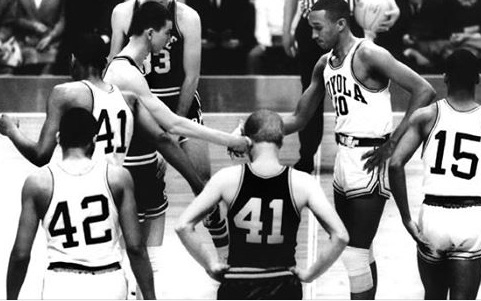 The most famous handshake in the history of the NCAA Tournament.