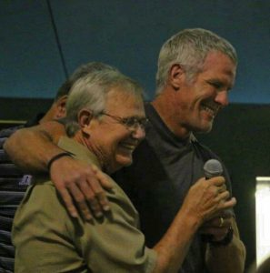 Brett Favre and the writer at MSHOF party during 2015 Induction Weekend.