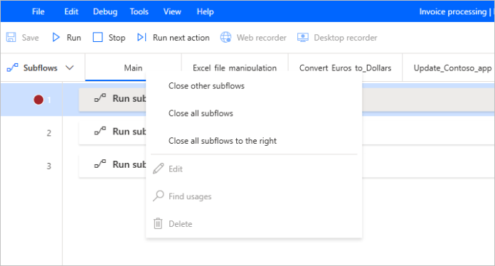 Subflowtab options are now functional during flow execution