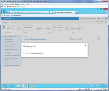 SharePoint-2013---New-Web-Applciation---Waiting
