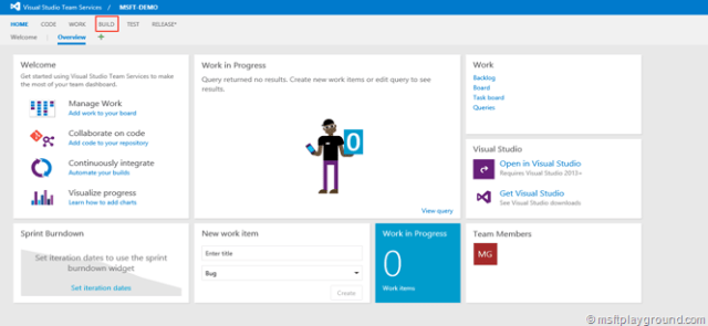 VSTS Team Page
