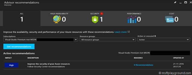 Azure Advisor Results