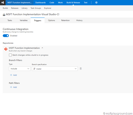 Continuous Integration VSTS