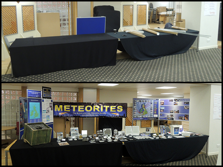From bare tables to meteorite display in around an hour :-)