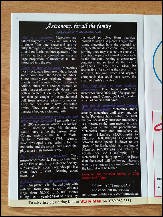 'Intro to meteorites' article as published in the 'Staly Mag'