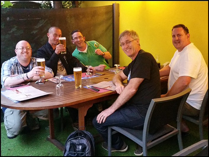 Myself, Andries, Rene, Graham and Luther at 'La Diligence' a bar/restaurant that we found last year and enjoyed their food, they didn't disappoint this year either!