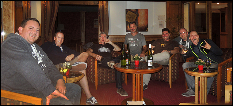 Luther, Rob, Graham, Dave, Kally, Me and Mike enjoying wine and banter in the hotel reception.