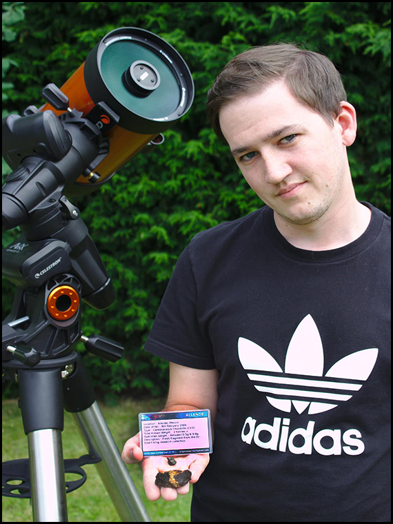 Competition winner Joe Coyle with his meteorite prizes :-)