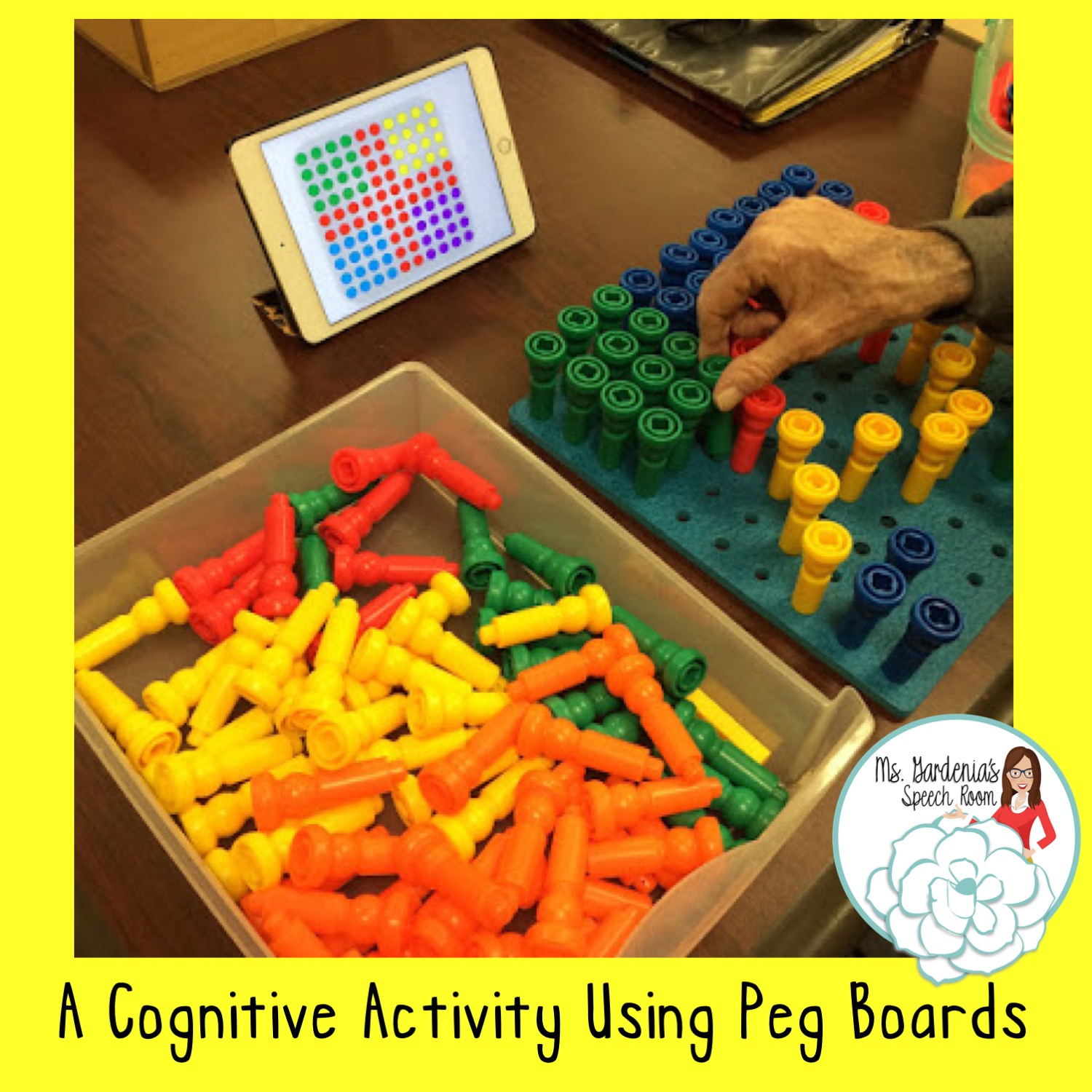 Cognitive Activity Using Peg Board For Speech Therapy In Snf Ms