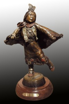 Little Shawl Dancer - Kliewer Bronze Western Sculpture at Mountain Spirit Gallery Prescott, Arizona