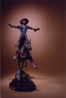 Grand Entry -Kliewer Rodeo Bronze sculpture at Mountain Spirit Gallery in Prescott , Arizona