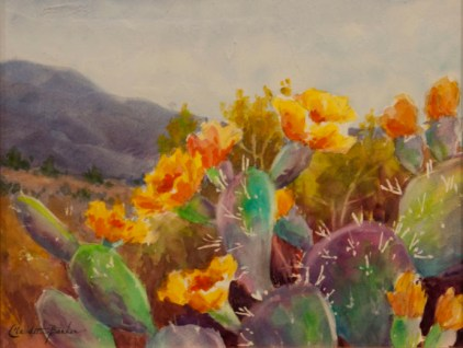Prickly Pear in Bloom - Watercolor 8X10 SOLD