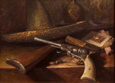Pistol original oil by Noe Cervantes $1200.00 SALE $1000.00