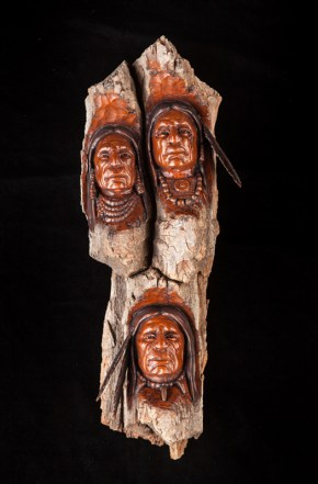 The Tribe - Cottonwood Bark Carving - 16x6x4 inches - $675.00
