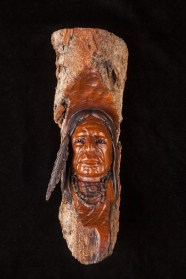 Two Feathers-Cottonwood Bark Carving-9x3x3 inches-$300.00