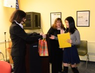 Joy Siegel and Laraine Barach present Jessica Li with her award