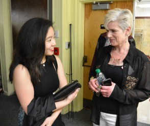 "Emma Quong, returning scholarship winner, with Orna Greenberg, AAC member. Emma's short film ""Shan • Shui • Shenti"" was screened at the event."