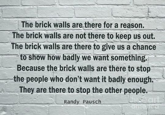 How You Can Turn Your Envy Into Something Good - Randy Pausch Brick Walls
