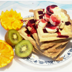 Perfect Sunday Breakfast Gluten Free Waffles with Blueberry Syrup