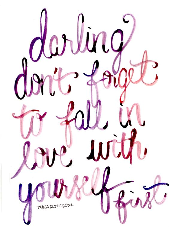Your Monday Inspiration Board - Inspirational Quote, self love, motivation, self care, health - Don't Forget to Fall In love With Yourself First