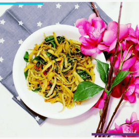 Sweet and Sour Sweet Potato Noodles Recipe (Plus, A Free Tutorial Infographic) | How to eat more vegetables by making delicious, healthy recipes using sliced, peeled, grated or spiralized veggie noodles. Featuring a gluten free, vegan, vegetarian recipe that makes an amazing main course or side dish. #healthyeating #veganfood #glutenfree #healthylifestyle