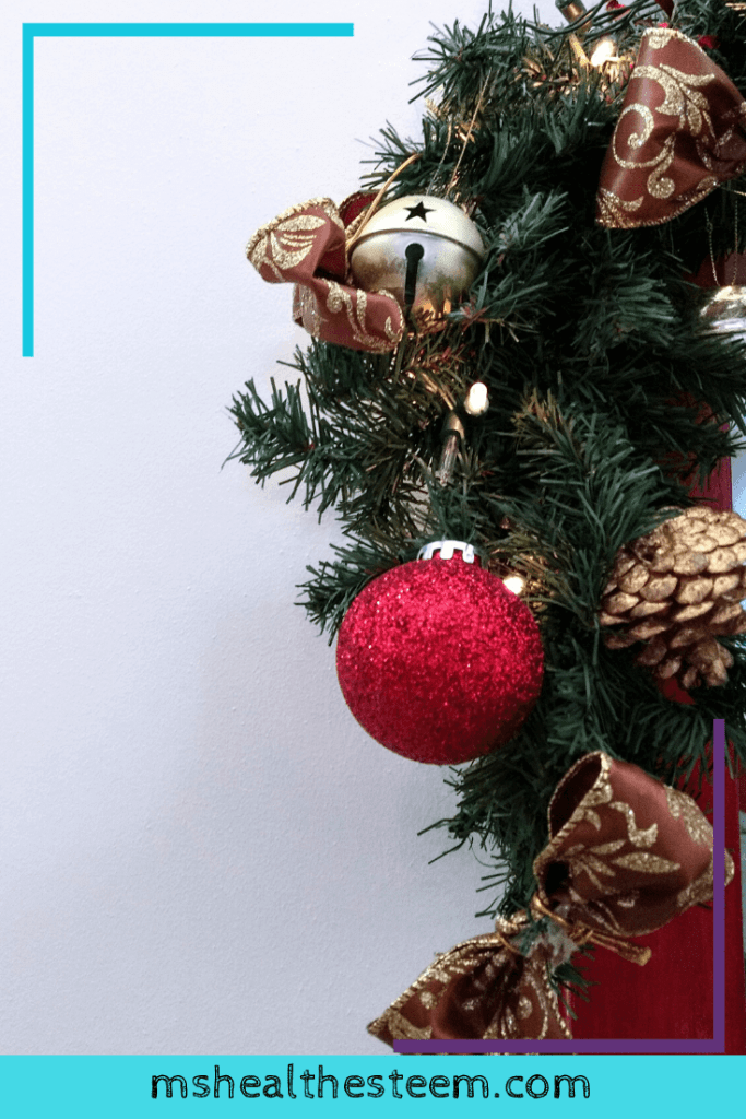 A close up of a section of a decorated Christmas tree
