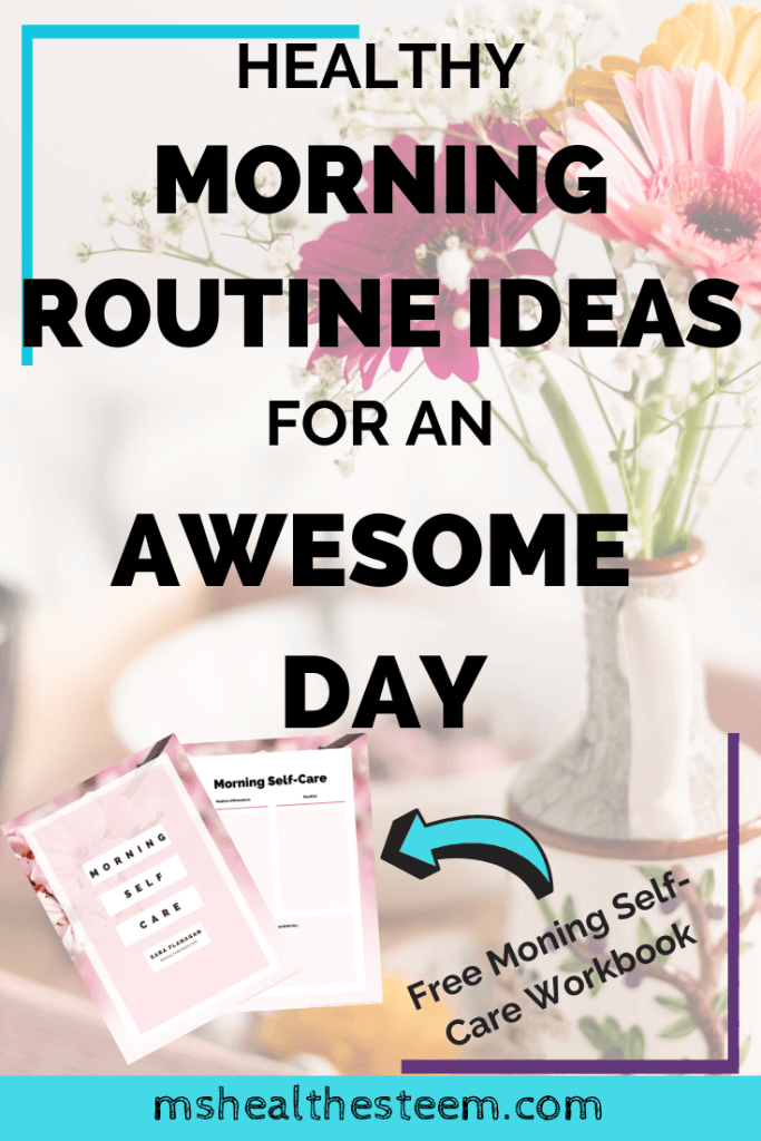 Healthy Morning Routine Ideas For An Awesome Day Title Card. In the background a tray of breakfast, decorated with flowers, sits on a bed