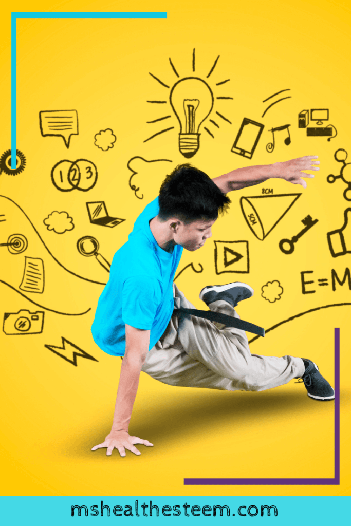 A young person break dancing with doodles background on a yellow backdrop