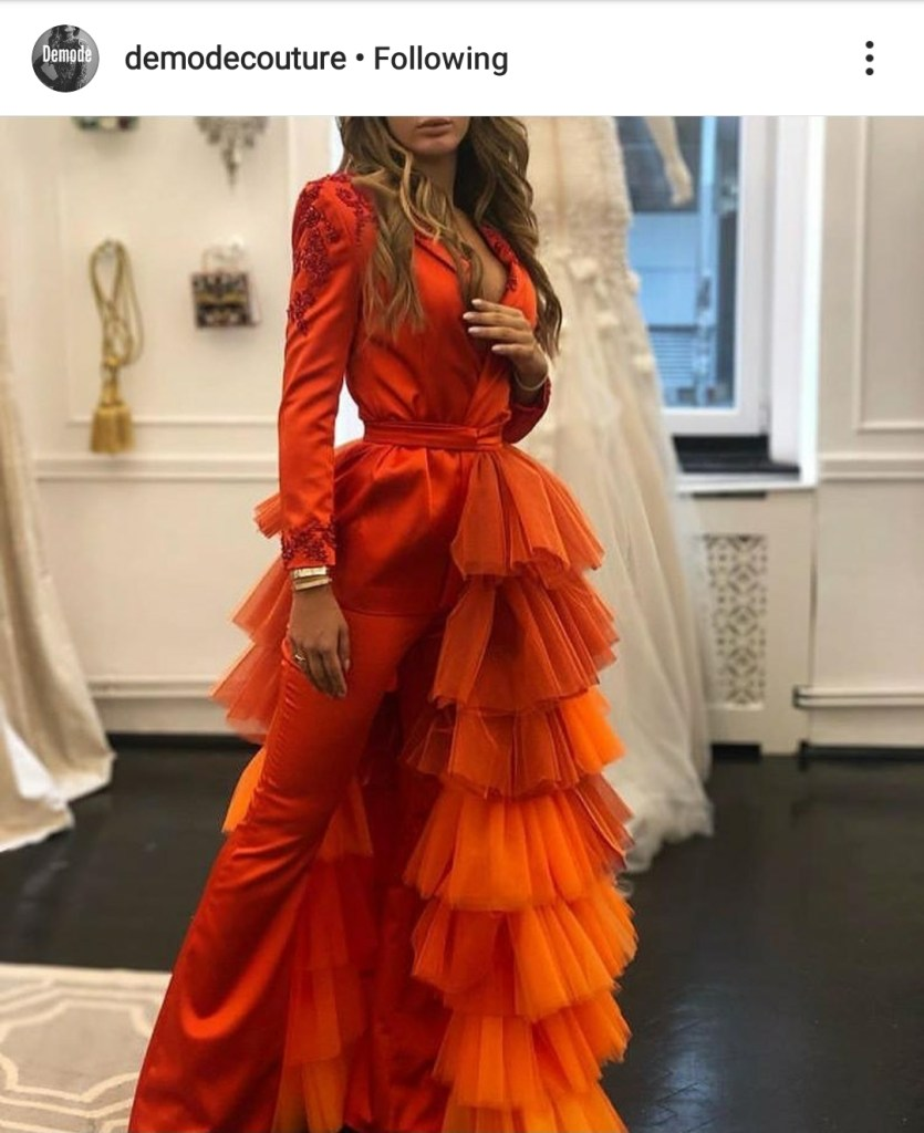 Demode Couture all orange outfit
