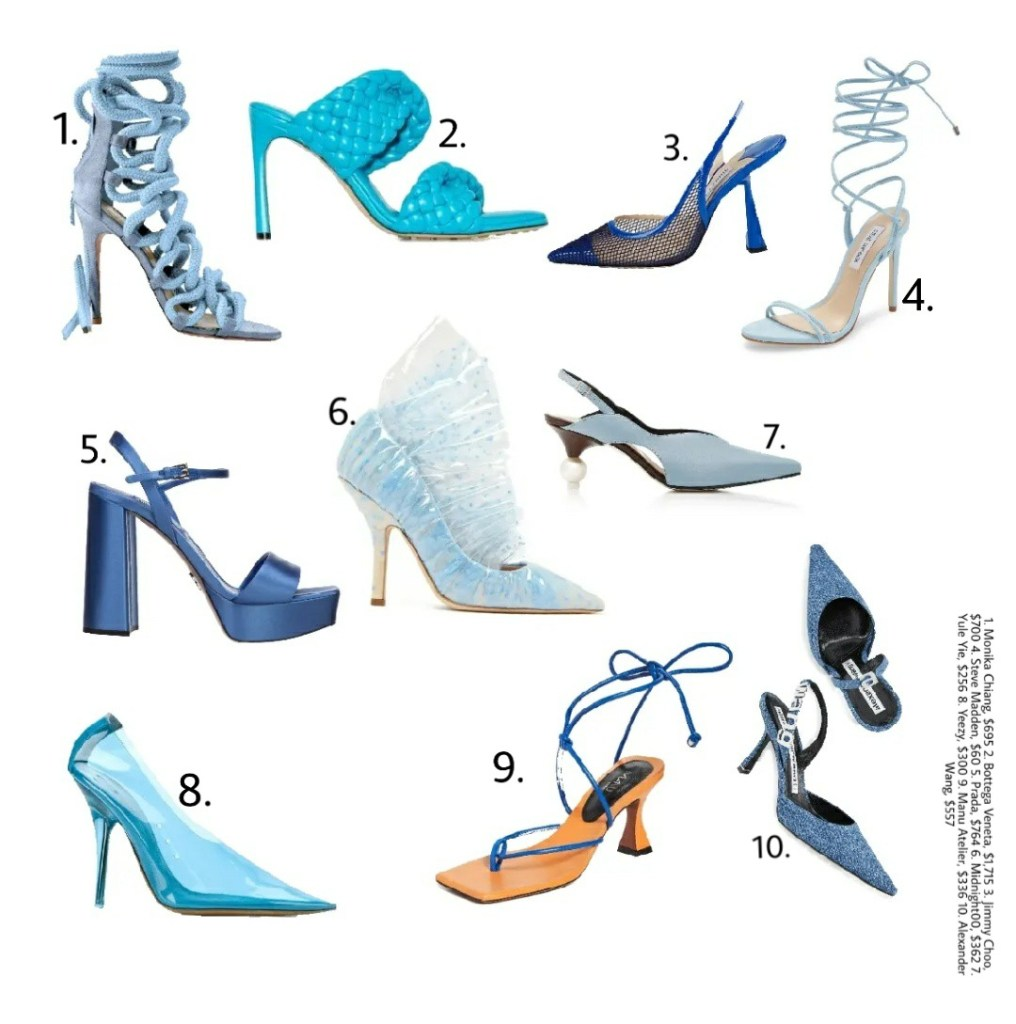 Blue heels to wear this summer.