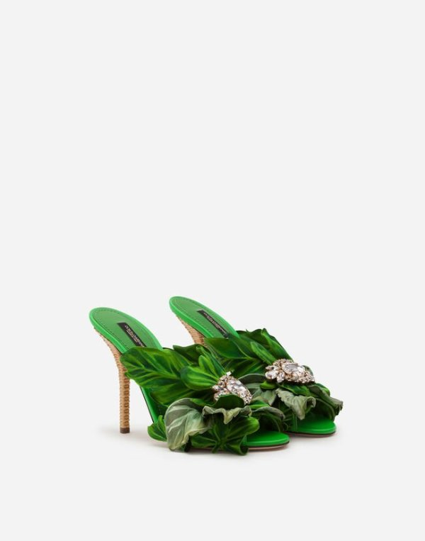 dolce and gabbana green satin mules