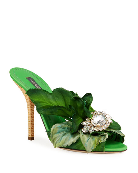 Dolce and Gabban satin green & embroidered mules.