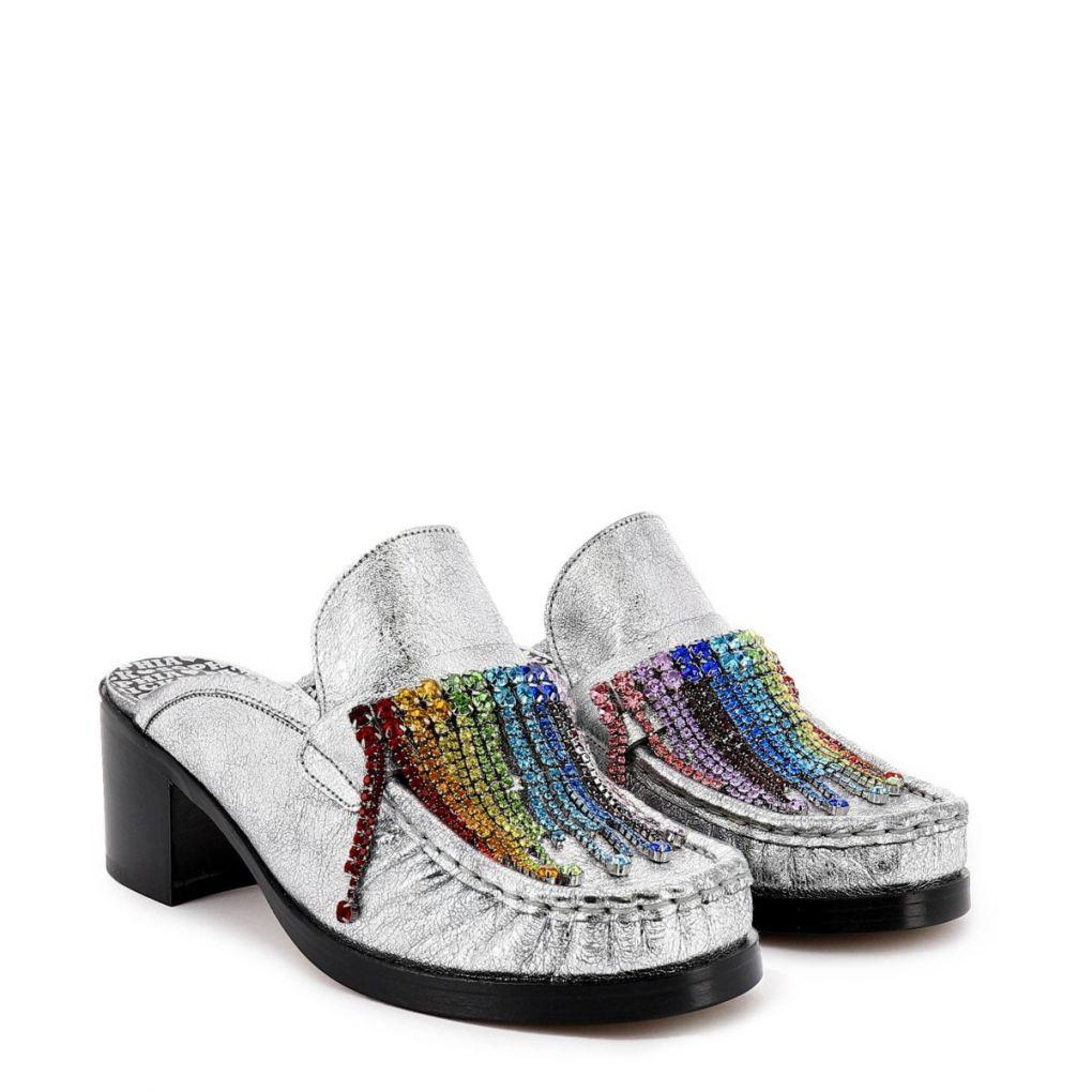 Sophia Webster & Patrick Cox silver embellished loafer mules