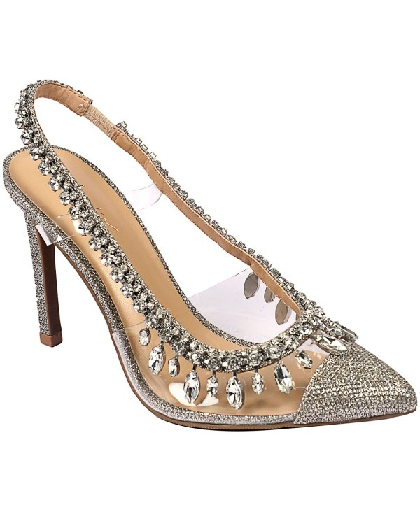 Thalia Sodi pewter blingy wedding heel