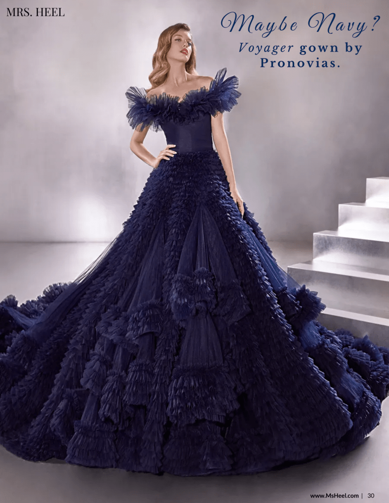 Navy voyager gown by Pronovias.