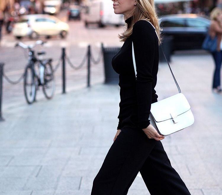 How to pair all black outfit with white accessories.