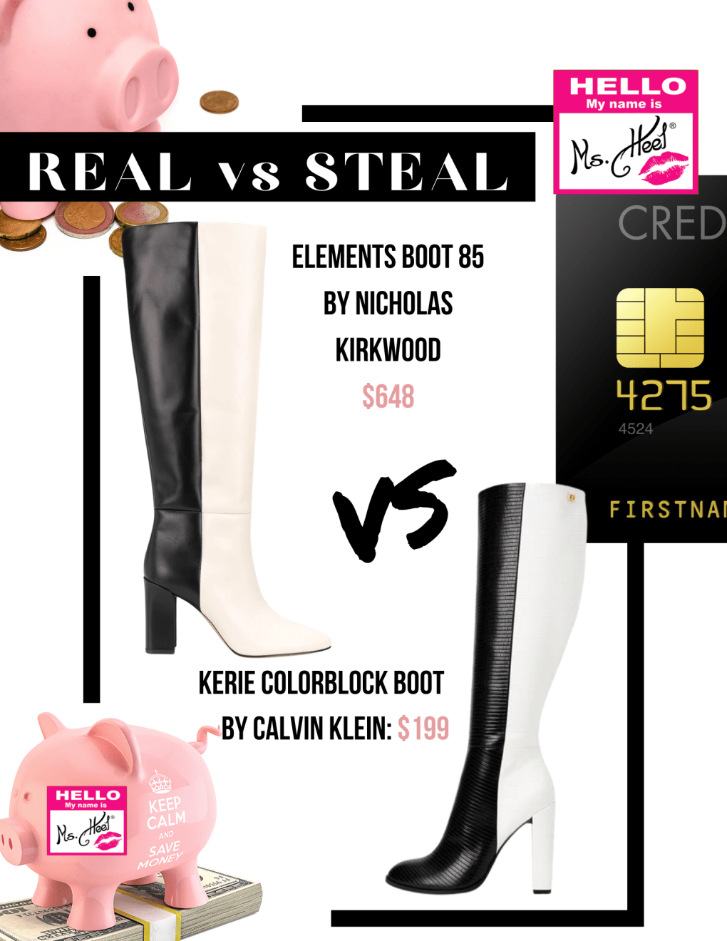 Real vs Steal featuring Nicholas Kirkwood and Calvin Klein.