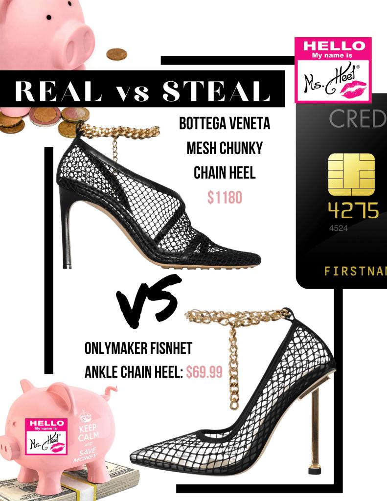 REAL VS STEAL- Bottega Veneta mech chunky chain heel