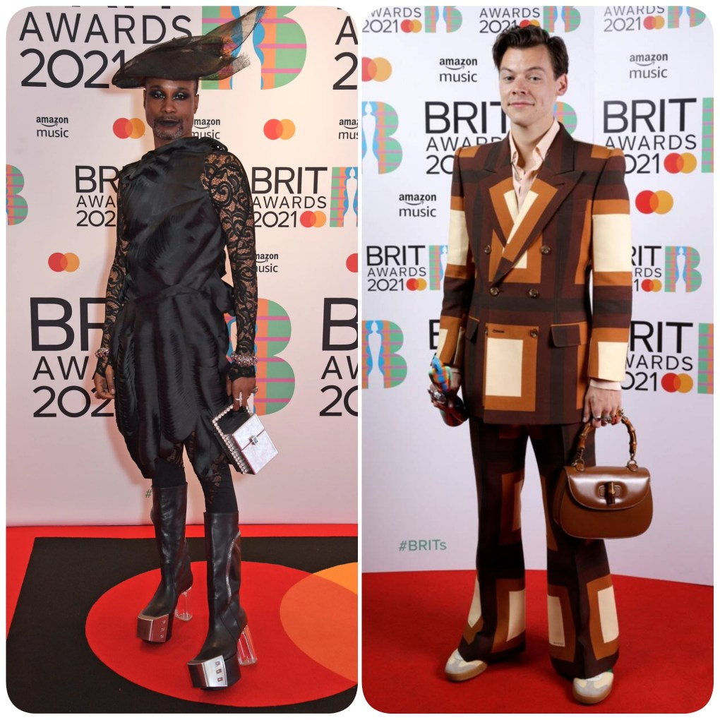 Billy porter & Harry styles at the 2021 Brit awards. Both men in heels and carrying a purse.