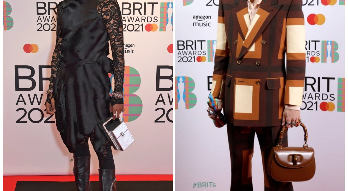 Billy Porter and Harry Styles at Brit awards in heels and with a purse